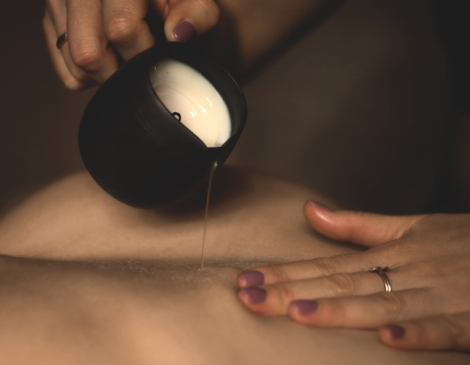 Sexy gift for him massage candle in black pottery